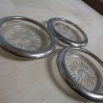 Glass coasters with silver edges