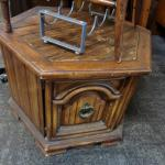 Octagon end cabinet table