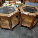 Pentagon Glass Surface End Tables