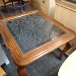 Feather Design Glass Surface Table with Matching Coffee Table