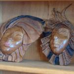 wood carving wall art faces